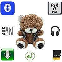 "12"" Multifunction Monkey Plush Toy Bluetooth Wireless Micro SD Memory Card Stereo Speaker w/ FM Radio Microphone Rechargeable Battery (Gift Retail Package) Red"