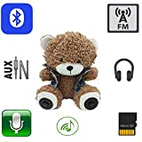 11.8' Multifunctional Teddy Bear Plush Toy Bluetooth Wireless Micro SD Memory Card Stereo Speaker w/ FM Radio Microphone Rechargeable Battery Dark Camel (Gift Retail Package)