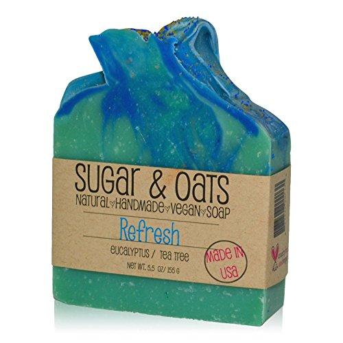 (Sugar and Oats - Eucalyptus & Tea Tree Aromatherapy Vegan Soap, Spa Luxury Skincare (Refresh Luxury Soap) Palm Free/Cruelty Free Bar Soap 5.5 oz Handmade Cold Process Skincare. Made in USA)