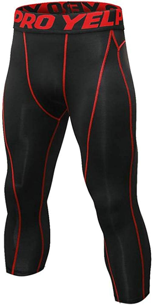 Ffox Men's Compression Dry Sports Fitness Running Training Tights 3/4 Shorts