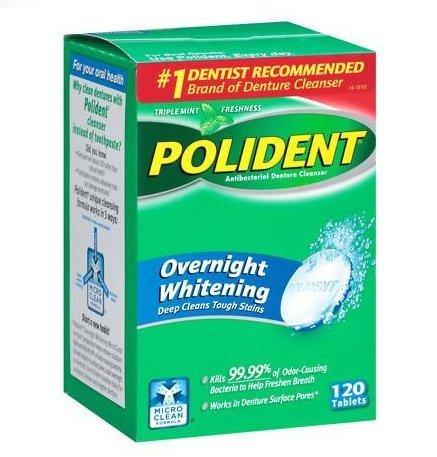 Polident Overnight Whitening, Antibacterial Denture Cleanser, Triple Mint Freshness 120 ea (Pack of 3)