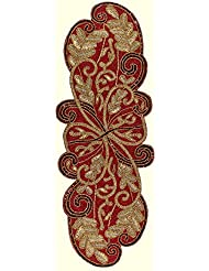 Charmant Cotton Craft   Scrolling Leaves Hand Beaded Table Runner   Burgundy Gold    13x36 Inches