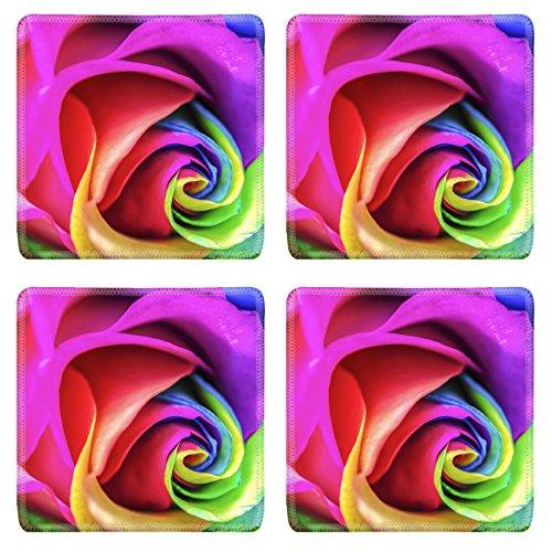 Luxlady Square Coasters Non-Slip Natural Rubber Desk Coasters IMAGE ID: 24517025 Rainbow Rose Close Up