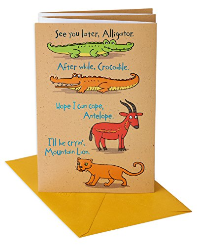 American Greetings Funny Animals Goodbye and Good Luck Congratulations Card with Foil (Best Wishes Phrases Farewell)
