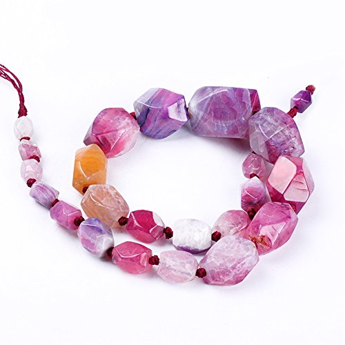 Ruilong AAA+ Octagonal Faceted Crack Stripe Natural Stone Agate Tower Chain For Jewelry Making (Octagonal Tower)