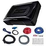 Kenwood KSCSW11 150-Watt Car Audio Compact Powered Subwoofer with Remote Control Bundle Combo With Complete 8 Gauge Amplifier / Woofer / Speaker Installation Kit
