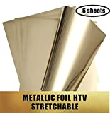 Stretchable Metallic Heat Transfer Vinyl Gold Foil Sheets HTV for Apparel T-Shirt and Hoodie 12'' X 9.8'' Sheets (Pack of 6)