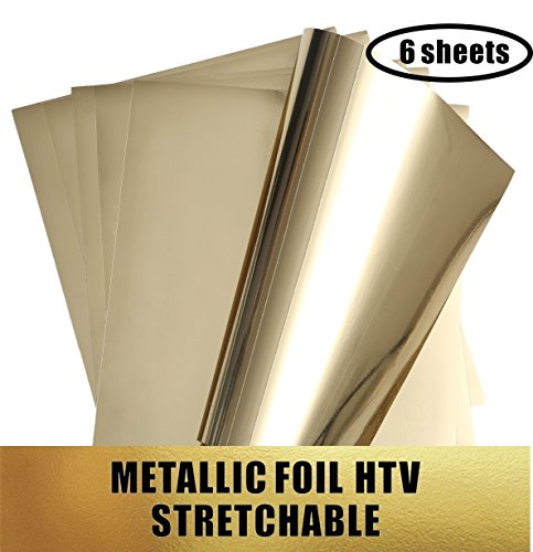 Stretchable Metallic Heat Transfer Vinyl Gold Foil Sheets HTV for Apparel T-Shirt and Hoodie 12'' X 9.8'' Sheets (Pack of 6) by Transformonkey
