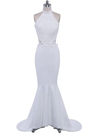 Beauty-Emily Wedding Dresses Ladys White Elegant Fashion Backless Mermaid Prom Party Dress White,