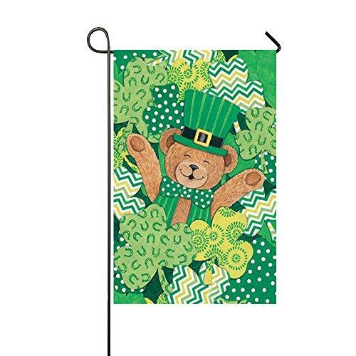 Rossne G sun Cute St.Patrick's Hat Teddy Bear Lying In The Clovers Garden Flag House Flag Decoration Double Sided Flag 12.5