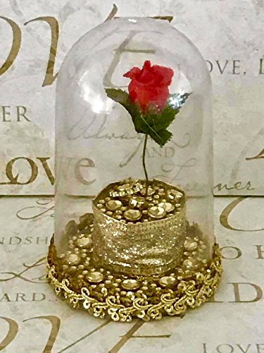 Beauty and The Beast Cake Topper Plastic Dome Rose Cake Favor Decoration