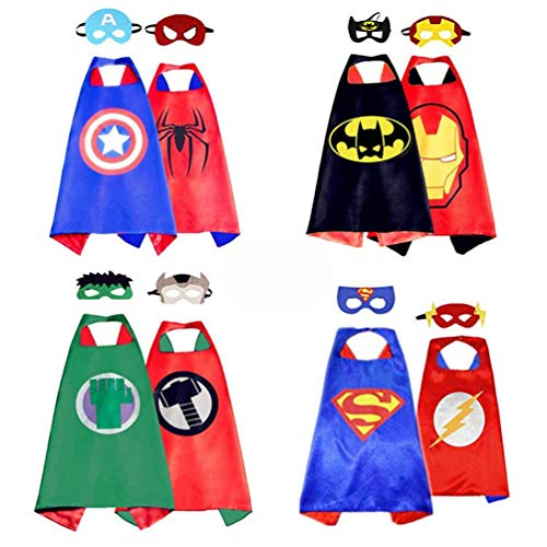 4 Pair Superhero Capes 8 Masks for Kids Girls Boys Dress up Costumes Set Christmas Birthday Party Children/Adult (4cape & 8mask) ()