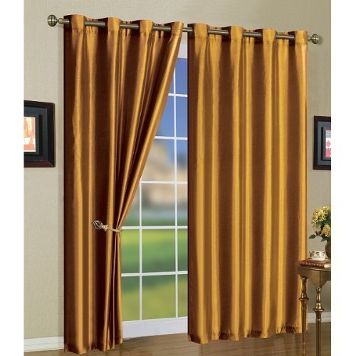 2 Piece Solid Gold Faux Silk Grommet Curtain Panel 58 by 84 Inch (Silk Gold Curtain Panels)