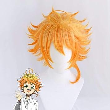 Amazon Com Emma Cosplay Wig Anime Yakusoku No Neverland Women Orange Cosplay Wig The Promised Neverland Emma Cosplay Wig Cap Beauty