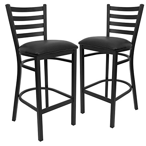 Flash Furniture 2 Pk. HERCULES Series Black Ladder Back Metal Restaurant Barstool - Black Vinyl - Flash Furniture Black Ladder