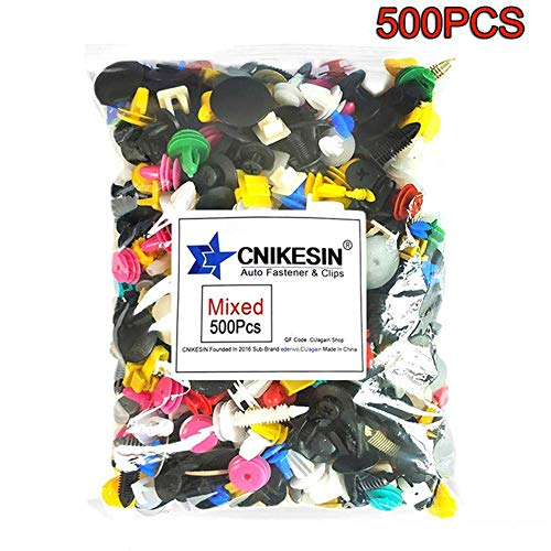 CNIKESIN 500PCS Car Mixed Universal Door Trim Panel Clip Fasteners Auto Bumper Rivet Retainer Push Engine Cover Fender Fastener Clip ()