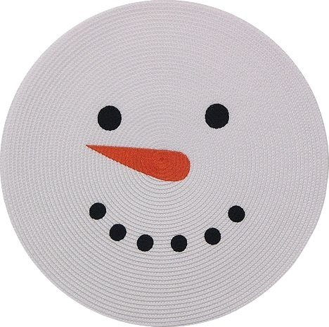 (Snowman Round Christmas Placemat- Set of)