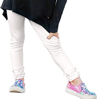 product image for City Threads Girls' Ruffle Leggings Pants 100% Cotton Ankle Length - Play School Uniform Fun - Made in USA