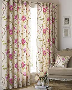 "FLORAL FLOWERS ON VINES FUCHSIA PINK BEIGE LINED 46"" X 54"" - 117CM X 137CM RING TOP CURTAINS DRAPES"