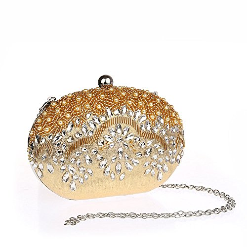 Simple Sac Perle Femme Or à Ovale Face Diamanté Chic Main Broderie Pochette de Rétro Soirée TdpXqw1T