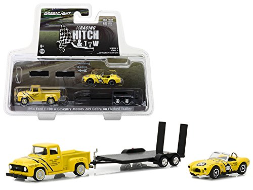 StarSun Depot 1954 Ford F-100 Coventry Motors 289 Cobra Walnut Creek on Flatbed Trailer Racing Hitch & Tow Series 1 1/64 Diecast Models Greenlight
