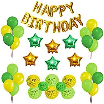 Party Decorations Set Happy Birthday Decoration Banner And Balloons Elegant Lime Green