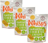 Whisps Parmesan Cheese Crisps| Keto Snack, No Gluten, No Sugar, Low Car, High Protein | 2.12oz (3 Pack)