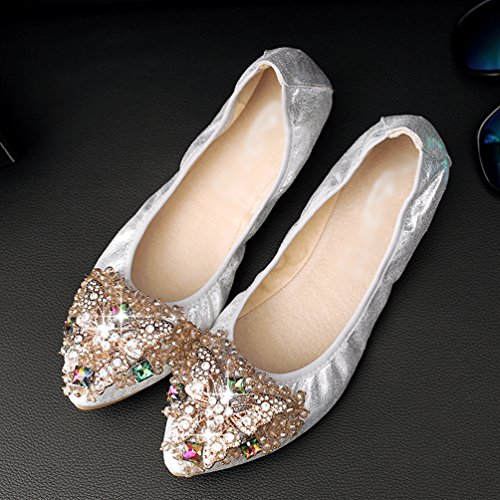 Jitong Elegant Pointed-Toe Flats for Ladies Rhinestone Glitter Loafers Slip On Soft Driving Moccasins Silver rDwR3MAh