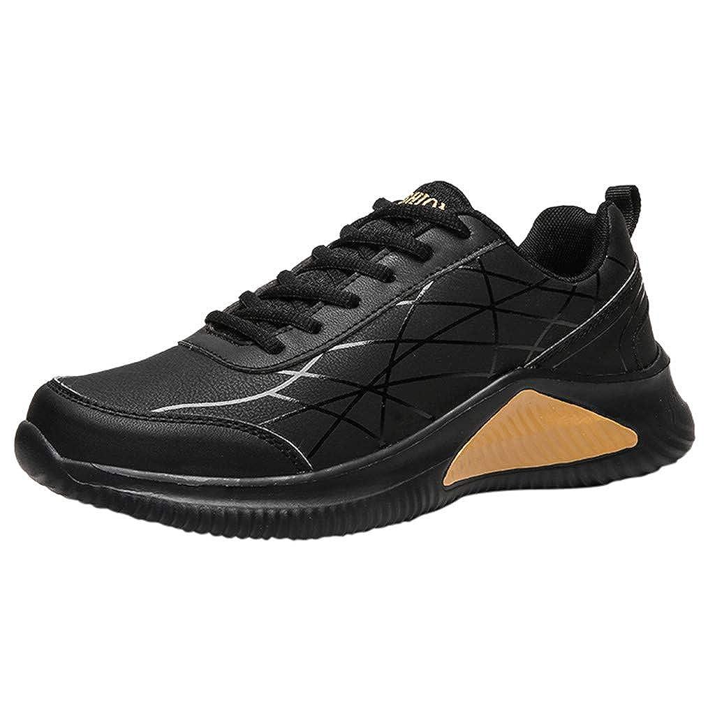CUTUDE Herren Turnschuhe Laufschuhe Fitness Straßenlaufschuhe Sneaker Leder Ultraleichte Bequem Sportschuhe Atmungsaktiv rutschfeste Mode Freizeitschuhe