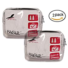 Bagail TSA Approved 3-1-1 Airline Carry On Clear Travel Toiletry Bag Quart Sized with Zipper for Liquids/ Bottles (Two Pack Grey)