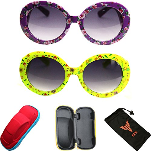 2 Pairs Girls Cute Fun Outdoor Round Oval Fashion Designer Eye glasses Sunglasses with +Free Case