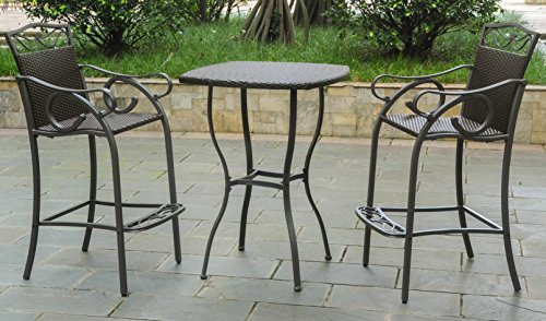 3-Pc Patio Bistro Set in Chocolate Finish