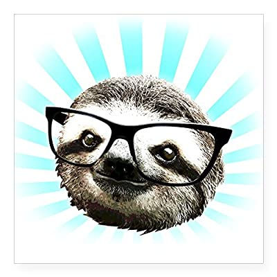 Cafepress Cute! Hipster Sloth Sticker Square Bumper Sticker Car Decal, 3&Quot;X3&Quot; (Small) Or 5&Quot;X5&Quot; (Large) - Kitchen And Dining Features