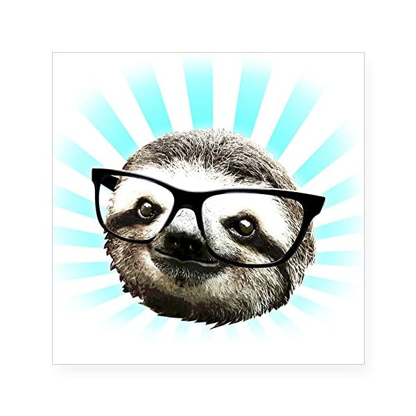 Cafepress Cute! Hipster Sloth Sticker Square Bumper Sticker Car Decal, 3&Quot;X3&Quot; (Small) Or 5&Quot;X5&Quot; (Large) -