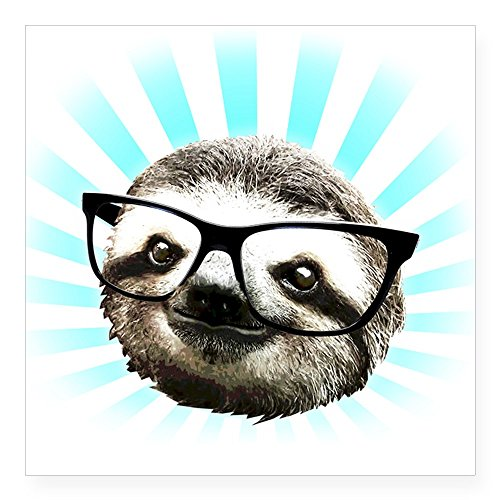 Hipster sloth sticker square bumper sticker car decal 3″x3″ small or 5″x5″ large