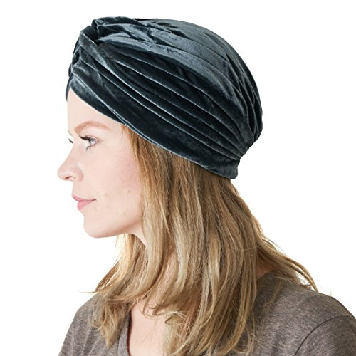 Womens Fortune Teller Turban - Gypsy Vintage Costume Accessories Mens Genie Velvet Boho Twist Hat Festival Grey