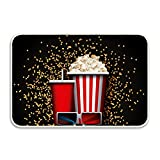 Movie Snacks Rectangular Doormat Funny Easily Fold Memory Foam Floor Mats for Home