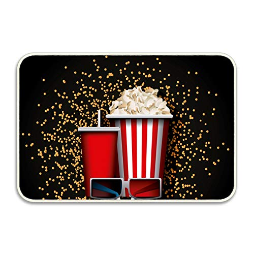 Movie Snacks Rectangular Doormat Funny Easily Fold Memory Foam Floor Mats for Home by FnLiu