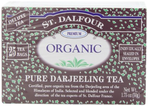 ST. DALFOUR Organic Tea, Tea Bags, Pure Darjeeling, 1.75-Ounce Bags, 25-Count Boxes (Pack of 6)