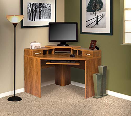 (OS Home and Office Furniture OSHOM Model 22110 Monitor Platform, Keyboard Shelf, 2 Box 1 File Drawer Corner Computer Work Center, Autumn Oak Laminate)