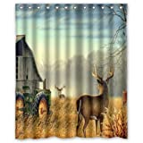 "abigai cool old tractor and cute deer Custom Printed Waterproof fabric Polyester Bath Curtain Bathroom Decor Shower Curtain 66""(w) x 72""(h)"