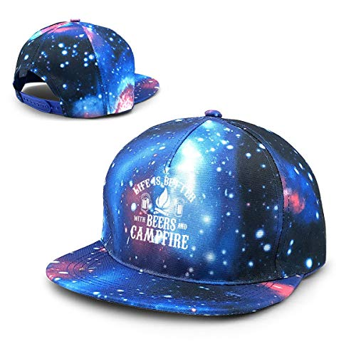 JustForU Adjustaball Baseball Cap - Beer and Campfire Hunting Fishing Survival - Unisex Galaxy 3D Printed Snapback Hip Hop Flat Brim -