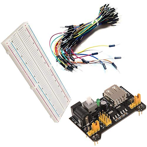 MB102 Power Supply Module 3.3V 5V+MB102 Breadboard Board 830 Point Jumper cable