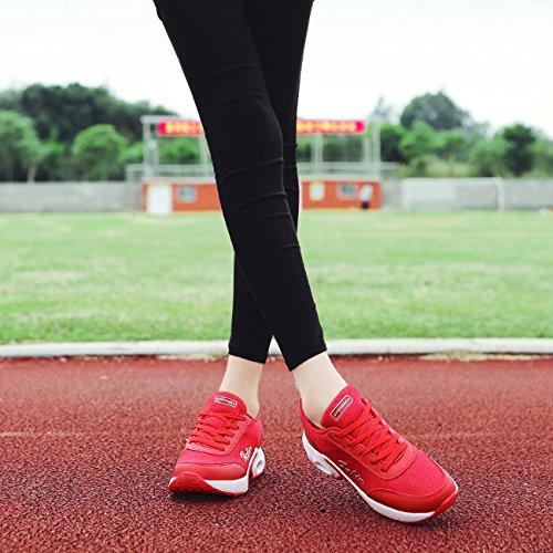 Sintético Rojo Mujer NEWCOLOR de para Zapatillas wq7nH6