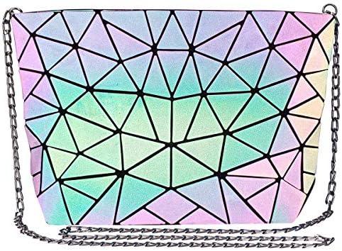 DCC FIONNI Bolsa Geométrica Luminosa Holográfica para Mujer