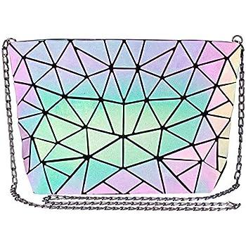 Geometric Luminous Crossbody Bag Women Tote Bag Holographic Purses and Flash Reflective Shoulder Clutch Bag for Girls