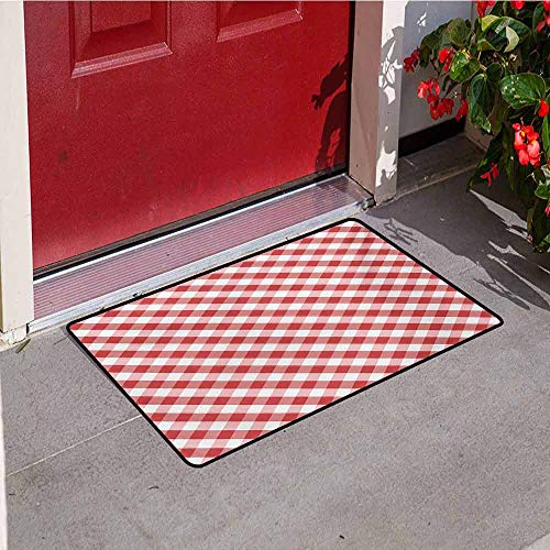 Jinguizi Checkered Welcome Door mat Crosswise Stripes with Little Red Squares Retro Abstract Pattern Door mat is odorless and Durable W35.4 x L47.2 Inch Pale Pink Dark Coral White ()