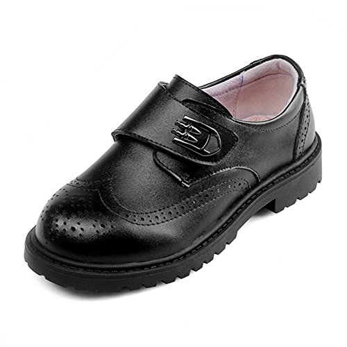 F-OXMY Boys Oxfords Dress Shoes Brogue Wing-Tip Burable Slip On Casual Shoes (Toddler/Little Kid/Big Kid) Black (Oxfords Casual Boys)