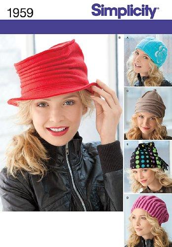 Simplicity Misses Fleece Hats Sewing Pattern 1959 , Size A (S-M-L)