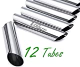 Cannoli Tubes by CiE. Set of 12 stainless steel Cannoli Forms pastry molds. Diagonal shaped